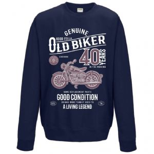 Premium Funny 40 Year Old Biker Classic Motorbike Motif for 40th Birthday Men's Jumper Sweatshirt